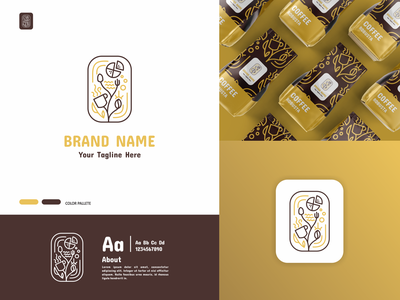 Cafe and Pizza Shop Logo coffe gold company business shop pizza cafe logos graphic design ui branding illustration minimal logotype icon flat design design logo design logo