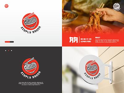 Simply Ramen Logo red simply japan noodle ramen business company modern branding illustration minimal logotype icon flat design design logo design logo