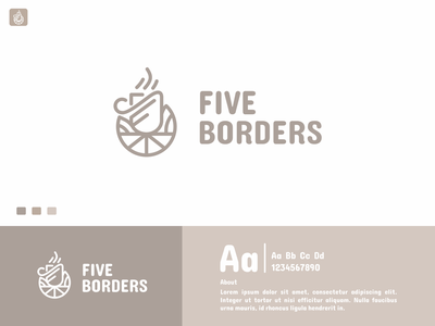Five Borders Logo company brand cafetaria cafe five borders monoline simple graphic design coffe logos branding ui minimal logotype icon flat design design logo design logo