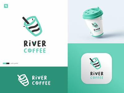 River Coffee Logo business company simple monoline blue river coffee animation graphic design logos logotype branding ui illustration minimal icon flat design design logo design logo