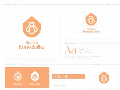 Rumah Konveksiku Logo logos modern elegant simple brand company dress home house graphic design ui branding illustration minimal logotype icon flat design design logo design logo