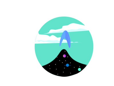 Space launch logo vector ui clouds asthetic dreamy flat illustrator illustration design