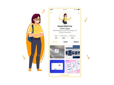 DailyUI-006 | User Profile app flat illustration @dailyui design @daily-ui ui
