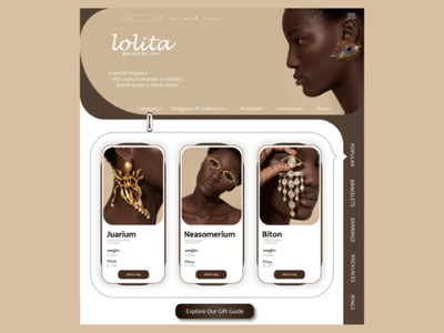 Jewelry shop design ui ux web  jewelry webite