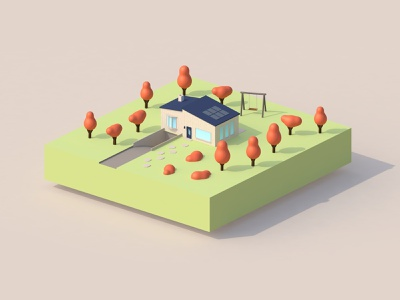 3D house in cinema4D web website vector cinema4d art 3d art 3d ui graphic design design