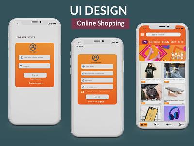 Online Shopping Mobile app UI branding app ios ui mobile ui design typography food app adobe xd ui designer mackup shopping mobileapps ui design