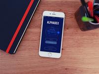 Alphadex Mobile App Login Screen
