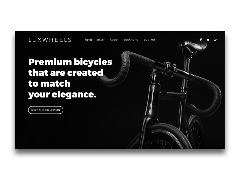 LUXWHEELS Landing Page UI | Header above the fold header landing page bicycles bikes ui