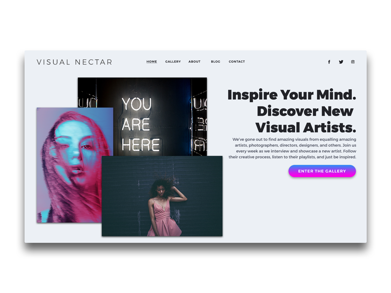 VISUAL NECTAR Landing Page UI | Header ui photography designer artist creative landing page header above the fold