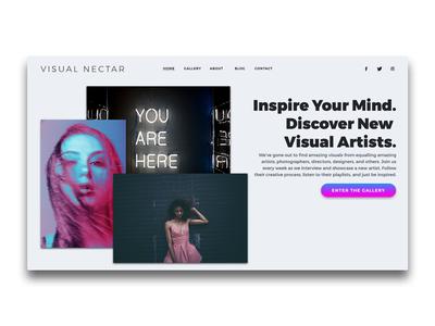 VISUAL NECTAR Landing Page UI | Header