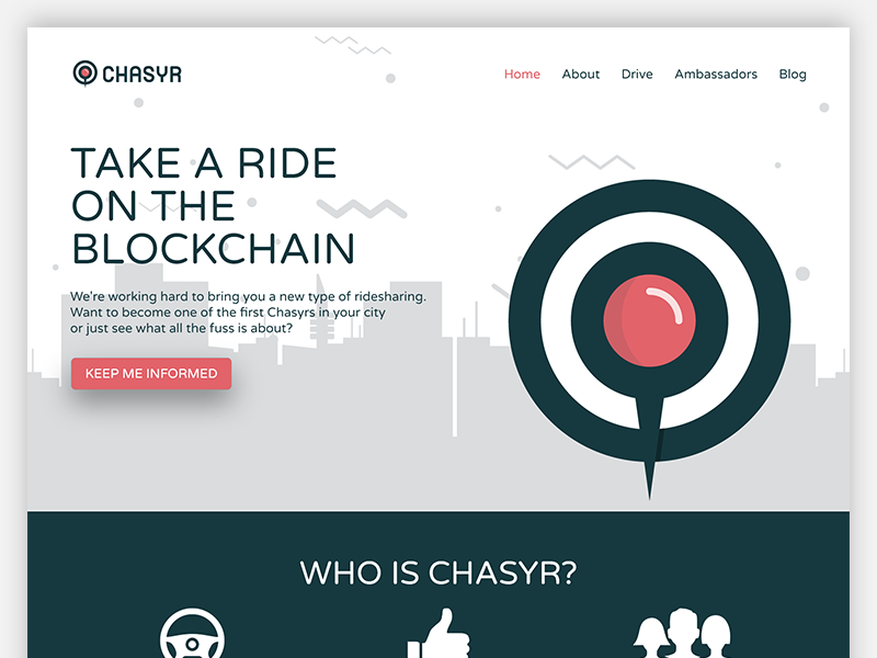Chasyr Landing Page adobe xd landing page prototype web startup blockchain currency cars drive
