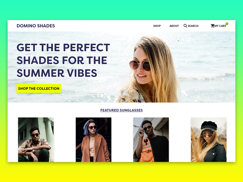 Domino Shades Home Page | Daily UI Challenge 003: Above the Fold 003 daily ui summer website web design shopping ecommerce shades sunglasses above the fold