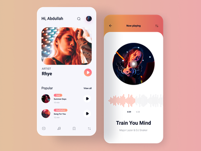 Music Player App mobile ios design ux ui concept gradient photo product design product player music onboarding song clean