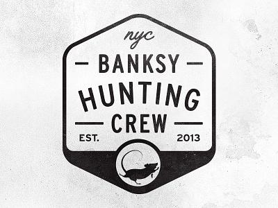Banksy Hunting Crew illustration logo badge type rat banksy hunting crew 2013 nyc texture dumb