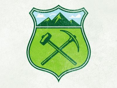 Miners Crest illustration texture crest axe mountains hammer colorado miners