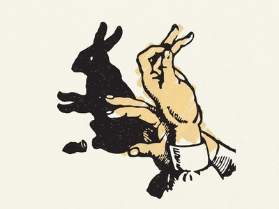 Fluck scribble shadow luck rabbit–foot rabbit illustration