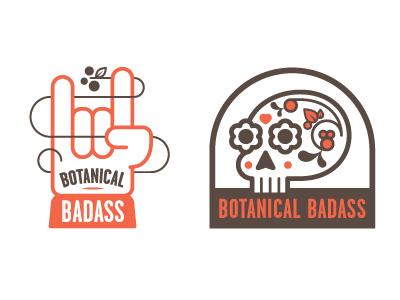 Botanical Badass illustration logo botanical skull glove leaf badass rock-on day-of-the-day-skull