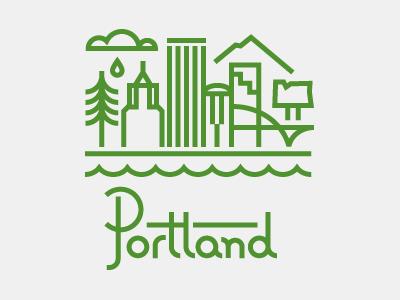 Portland illustration thick-lines portland oregon tree buildings rain cloud water portlandia