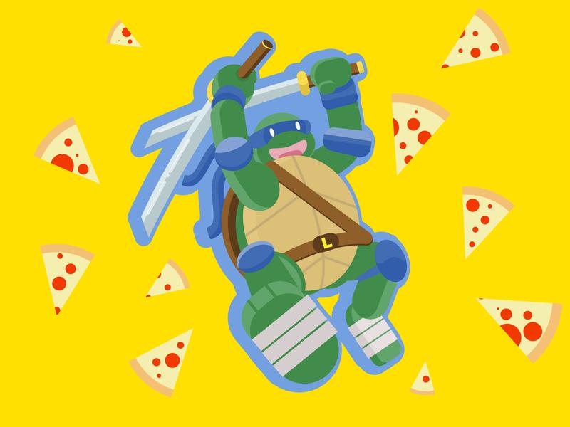 Leonardo cartoon blue and yellow green blue cowabunga pizza ninja turtle vector art ninja leonardo ninja turtles
