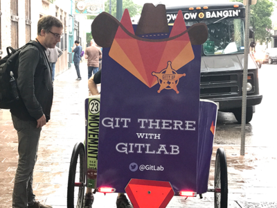 GitLab Pedicab | OSCON 2017 - Austin, TX illustration open source pedicab oscon typography branding tanuki texas austin gitlab git
