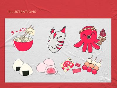 Illsutrations for my personal branding mochi kitkat takoyaki ramen onigiri dango japanese japan art design art branding logo illustraion procreate designer design