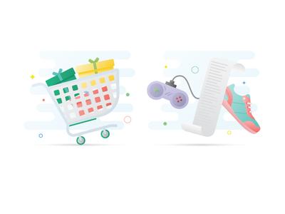 Honey Marketing Illustrations controller shoe receipt shopping cart illustration shopping gradient