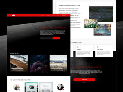 Virgin Unite Landing Page website webdesign ux ui tech responsive red gradient flat dark space landing page
