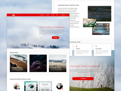 Virgin Unite Landing Page website webdesign ux ui tech responsive red landing page