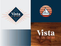 Vista Branding icon wood ligature boat sunset marina typography logo branding
