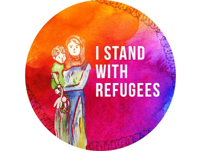 Refugee Sticker mother and child watercolor protest solidarity sticker i stand with refugees refugees