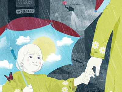 Raising an optimistic child in a world of pessimism editorialillustration editorial drawing illustration