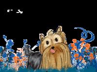 Caricatura Ximo dog perro yorkshire azul blue marrón brown dibujo drawing