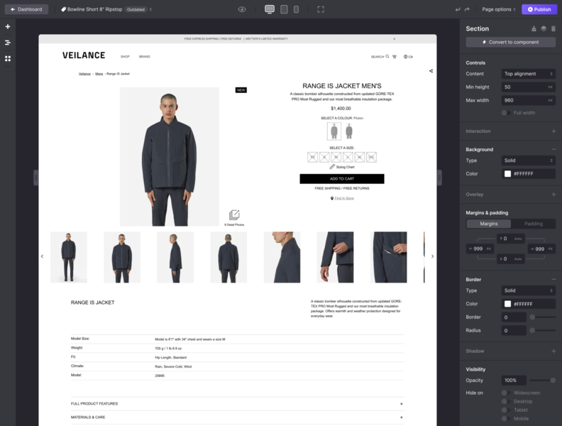Explorations for our no-code Page Builder interface builder ui