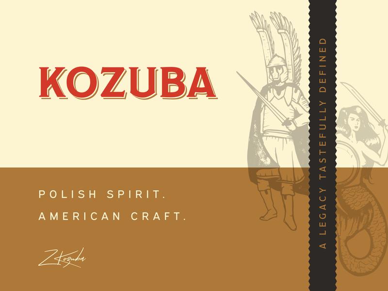 Kozuba & Sons Distillery Branding speakeasy whiskey vodka mermaid illustration handcrafted spirits polish copper wordmark brand identity identity design branding label design alcohol branding black red liquor branding craft spirits