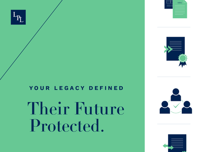 Legacy Protection Lawyers Visual Identity and Tagline modern sophisticated icon icon design icon set minted navy lawyer logo branding and identity brand identity iconography visual identity identity brand design branding lawyers law firm icons tagline typography