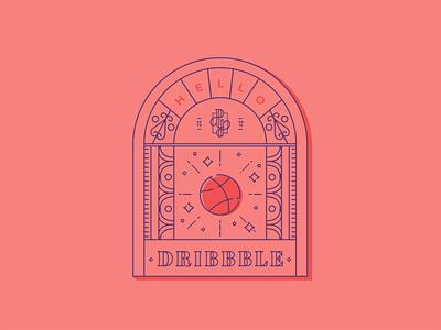 Hello Dribbble by Pyper, Inc. brand design debut illustrator minimal vector flat illustration linework basketball firstshot first shot hello dribbble hellodribbble dribbble