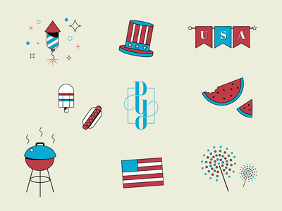 Happy Independence Day! hotdog america popsicle firework bbq flag vectorart iconography icon icondesign branding agency usa independenceday redwhiteandblue patriotic july4 vectorillustration vector illustration