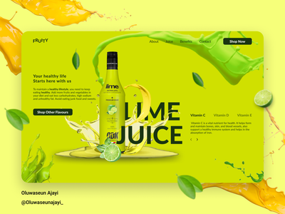 Lime Juice Landing Page fruits lime green graphics ui splatter design web design ux uxdesign uiux uidesign juice landingpage figmadesign figma