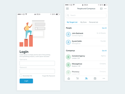 Project Manager Login design dashboard app ux ui