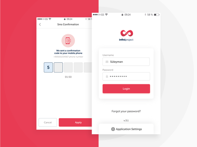 Login and SMS Page mobile app ux ui login form page sms login