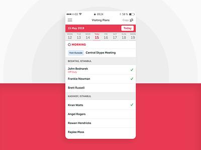 Visiting Plans List calendar app mobile app ux ui