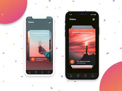 Carousel Ideas ios iphone app dashboard home vertical horizontal dark theme app ui app design design ui appui app videos