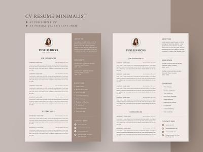Minimalist CV Resume Template minimalist docx clean doc cv microsoft word professional modern template manager job infographic creative resume