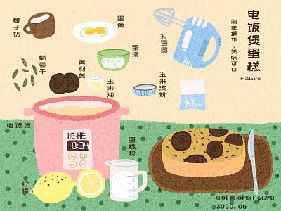 一组自制美食转插画  2 杂色 美食 平面 illustration 纹理 插画