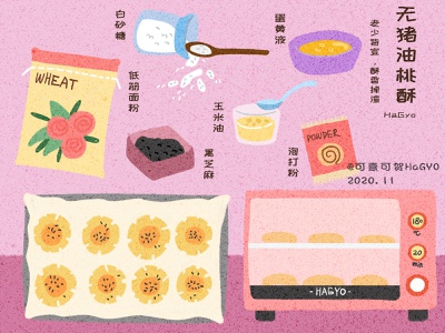 A group of homemade food illustrations 4 food texture noise flat ps illustration