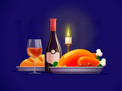 Illustration of candlelight wine dinner dinner winery candlelight wine illustration design flat