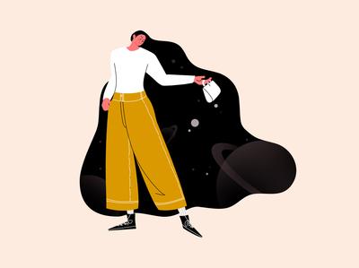 Big girl's big world - 3 ui branding 插画 people illustration people hair girl drawing design illustration