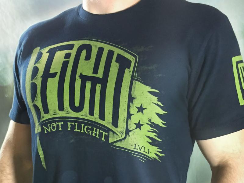 Fight Not Flight Final Product Shot flag illustration lettering barbell