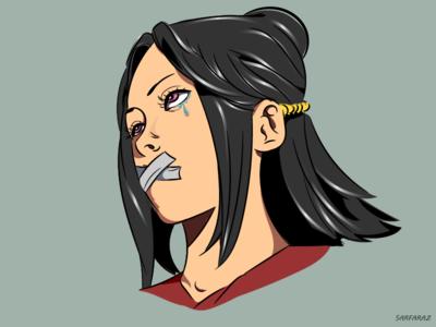 Speechless anime dribbble drawing girl art minimalism vector illustration digital art adobe illustrator