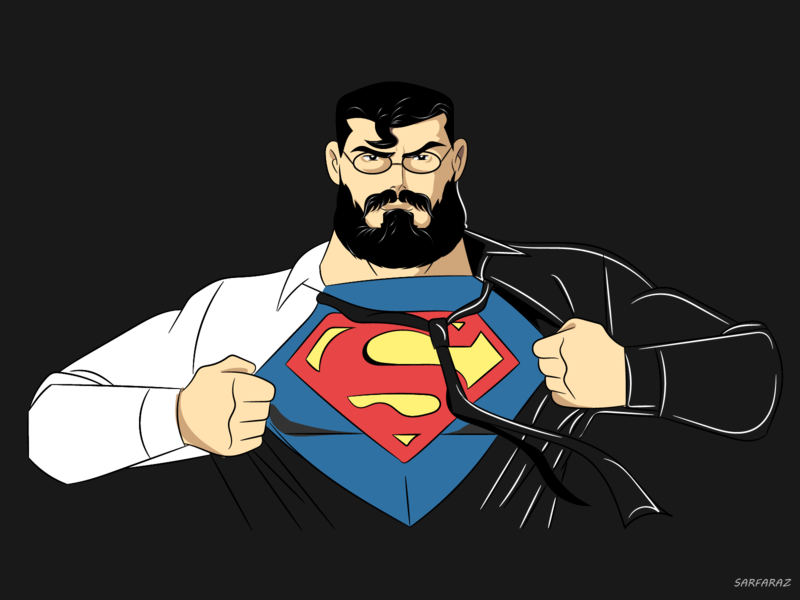 Superman glasses beard idea man strong man of steel superman superhero dribbble drawing illustration artwork adobe illustrator